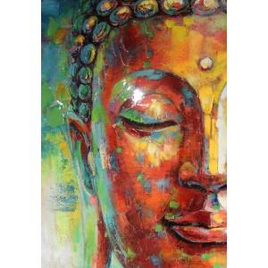Peinture sur toile 120 cm cadre décoratif mural multicolore - BUDDHA