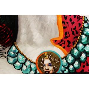 Peinture sur toile 120 cm cadre décoratif mural multicolore - MARILYN