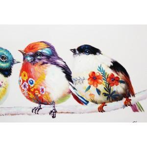 Peinture sur toile 120 cm cadre décoratif mural multicolore - LES OISEAUX