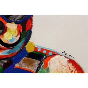 Peinture sur toile cadre décoratif mural multicolore - DOGGY