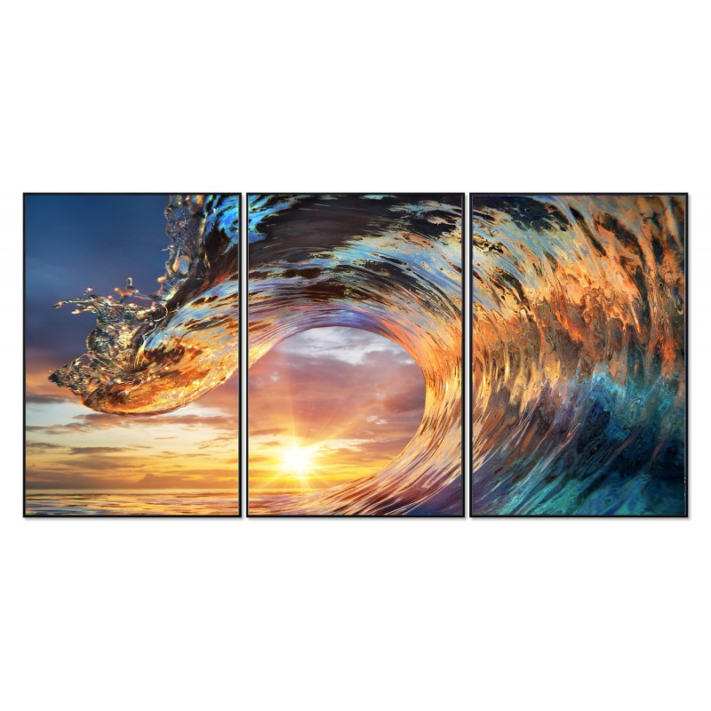 Tableaux photo design mer vague nature multicolore en verre acrylique - SUNNY SEA