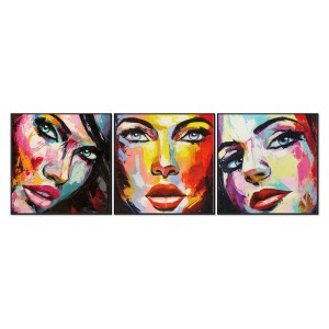Tableaux impression peinture visages multicolore en verre acrylique -  GIRLS
