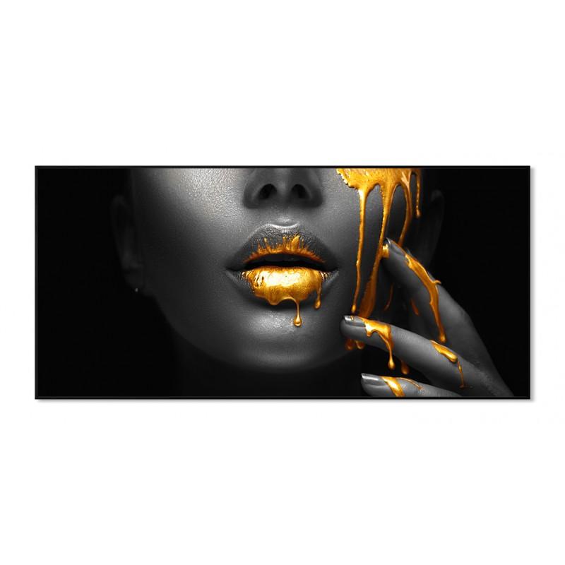 Tableau impression photo en verre acrylique noir, blanc & or - GLAMOROUS