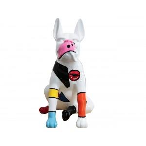Sculpture chien blanc et multicolore en résine - MOLOSSE