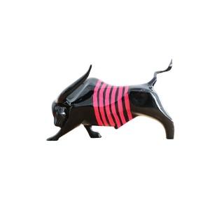 Sculpture taureau noir et rose en résine - EL TORO 2