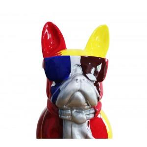Sculpture chien à lunettes multicolore en résine - THE BOSS