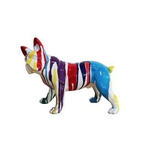 Sculpture chien bulldog multicolore en résine - MEDOR