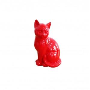 Sculpture chat rouge assis en résine - CAT red