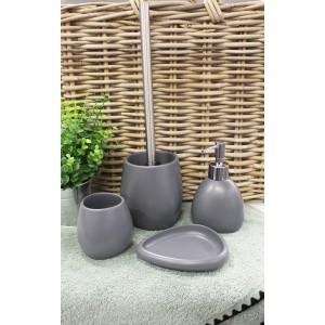Brosse de toilette et support Polyrésine et pierre naturelle gris anthracite - COLLECTION LARA