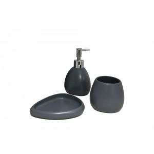 Set 3 accessoires salle de bain en Polyrésine et pierre naturelle gris anthracite - COLLECTION LARA