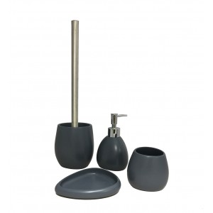 Set 4 accessoires salle de bain en Polyrésine et pierre naturelle gris anthracite - COLLECTION LARA