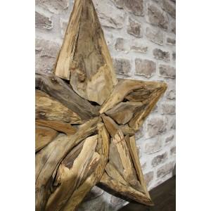 Etoile décorative 90 cm en teck fabrication artisanale et naturelle - objet de décoration murale - ESTRELLA