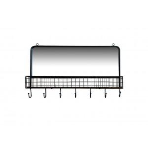 Etagère / patère 7 accroches en métal et bois avec miroir style factory rétro - ORIGIN