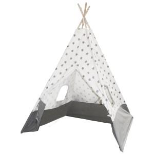 Tipi enfant bicolore gris et blanc décoration etoiles - tente de jeux chambre garçon et fille - JOLAN