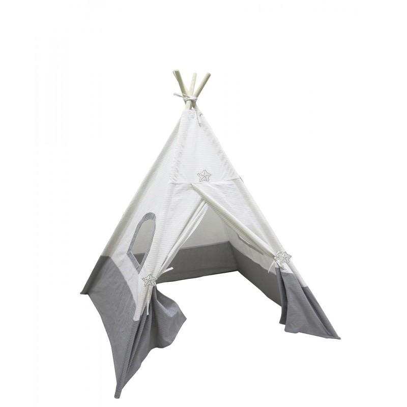 Tipi enfant bicolore gris et blanc - tente indien de jeux chambre garçon et fille - PACO