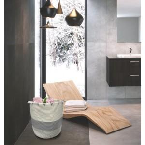 Panier de rangement rond en corde de coton blanc et gris - salle de bain, dressing, chambre - LOU