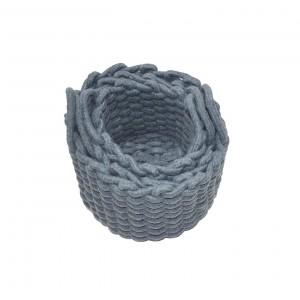 Lot de 3 paniers de rangement rond en corde tressé de coton gris bleuté - salle de bain, dressing, chambre - LIV