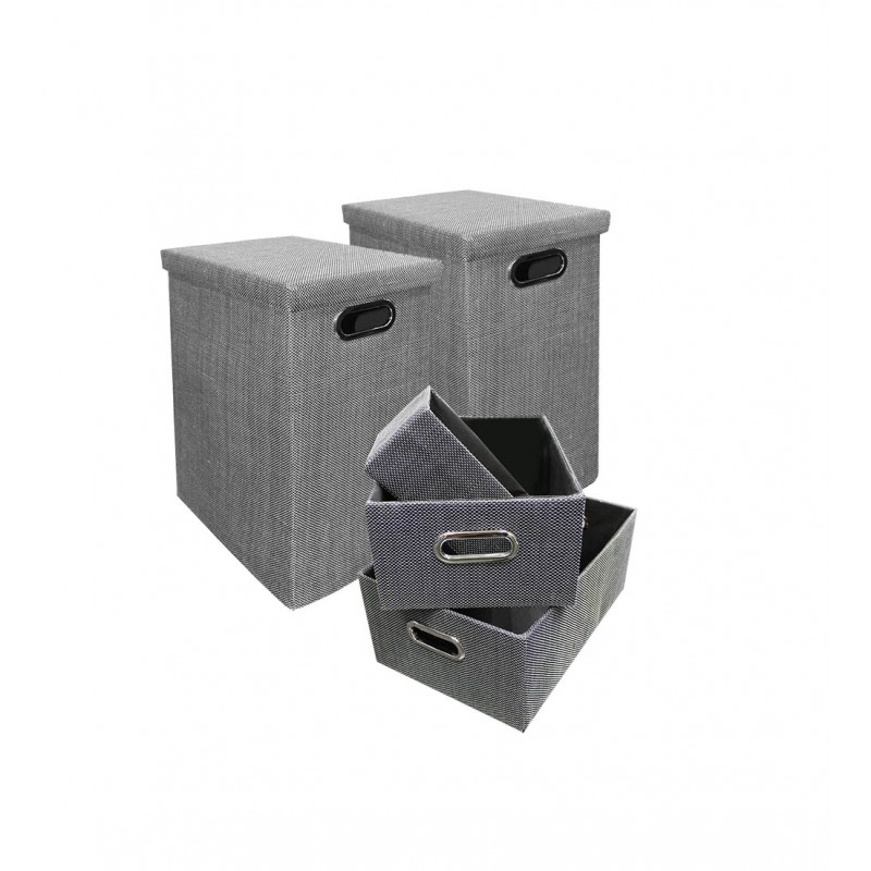 lot de 5 boites de rangement pliables grises - rangement salle de bain, dressing, chambre, bureau - FUN