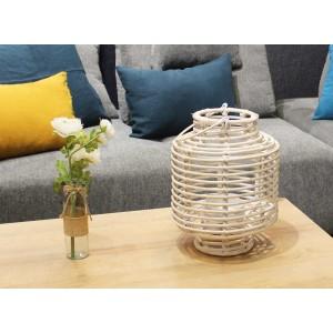 Lanterne photophore 40 cm en rotin blanc - objet décoratif à poser ou à suspendre - bohème chic - YANGON