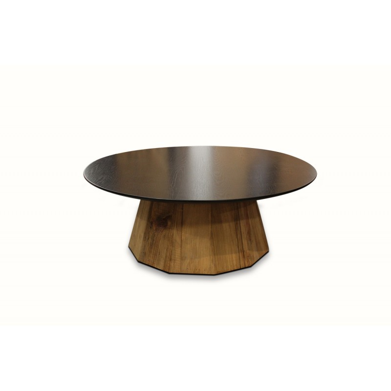 Table basse ronde noire et socle polygone en pin recyclé  - design chalet chic, industriel   - LAKOTA