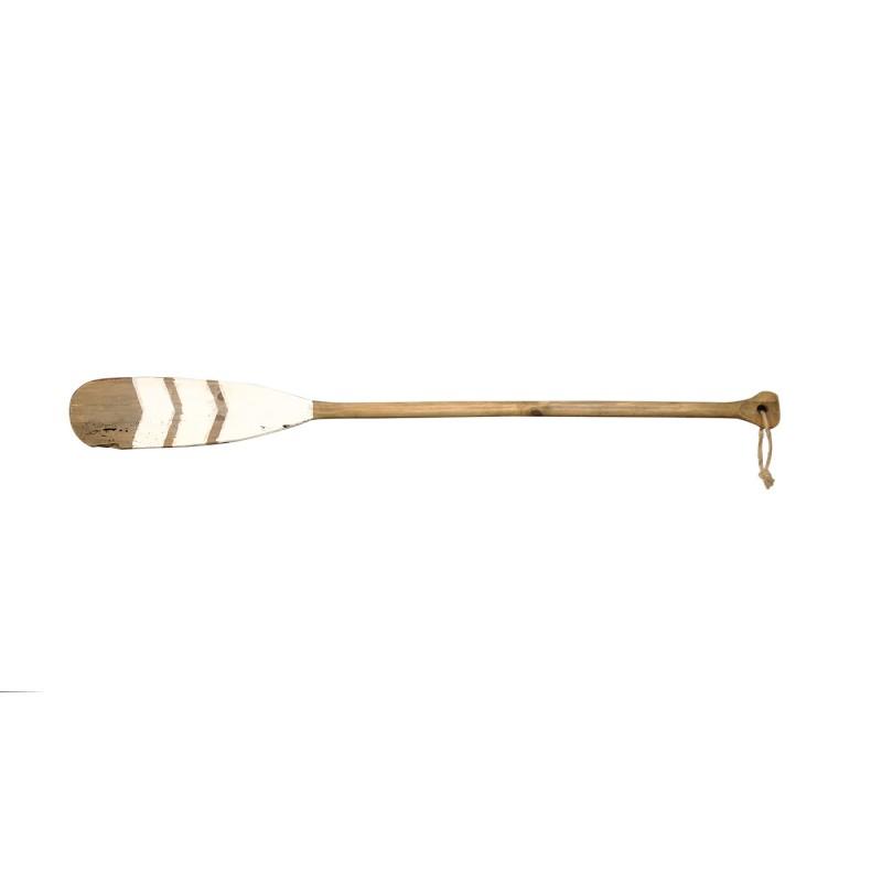 Pagaie de canoé décorative 120 cm, rame en bois décorée, objet de décoration mural blanc et naturel  - ZIA