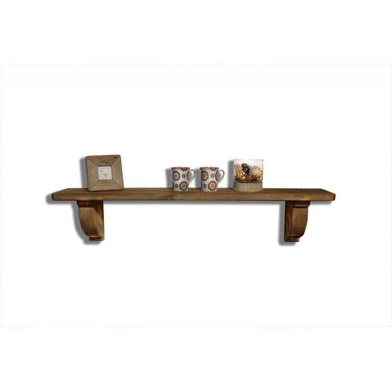 Etagère tablette murale en bois recyclé 120 cm - décoration rustique - Collection Chalet