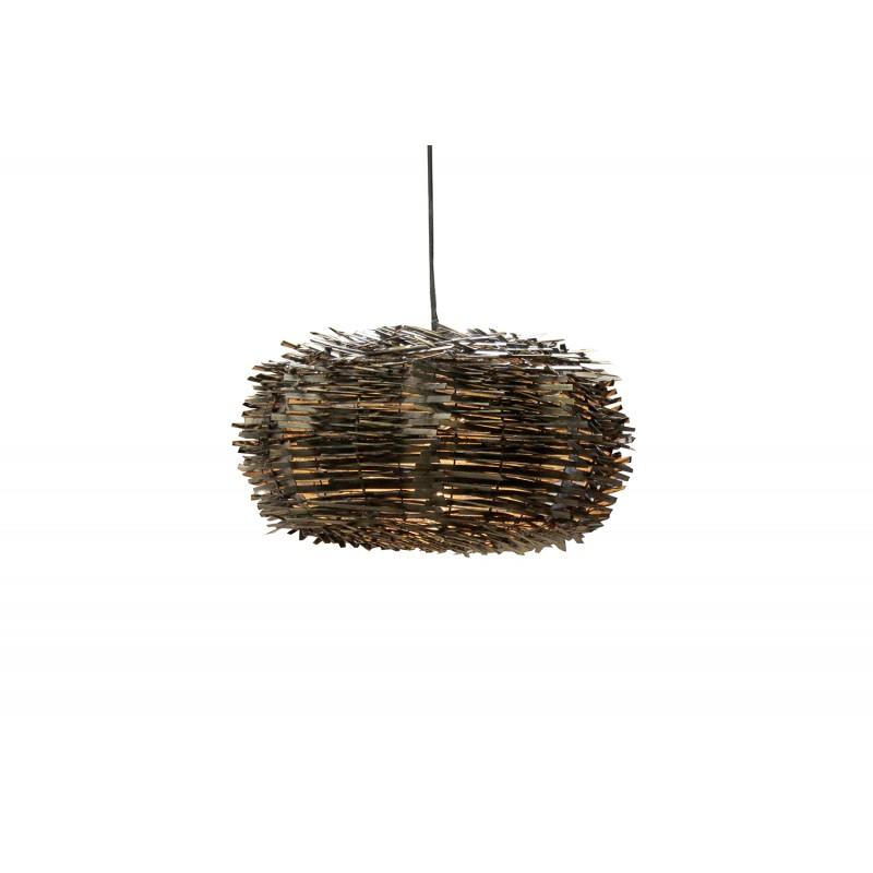 Suspension forme nid d'oiseau en bois foncé - Luminaire design scandinave bohème chic  - Nido