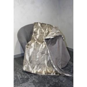Plaid fausse fourrure blanc et marron - doux et épais - décoration chalet chic luxe  - Aspen