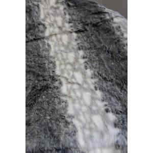 Plaid fausse fourrure blanc et gris - doux et épais - décoration chalet chic luxe - Zermatt