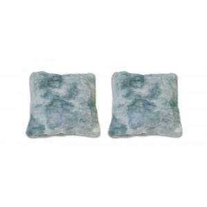 lot de 2 Coussins nuances de bleu, gris, vert, au toucher ultra doux, ultra moelleux, ultra douillet - Calinou