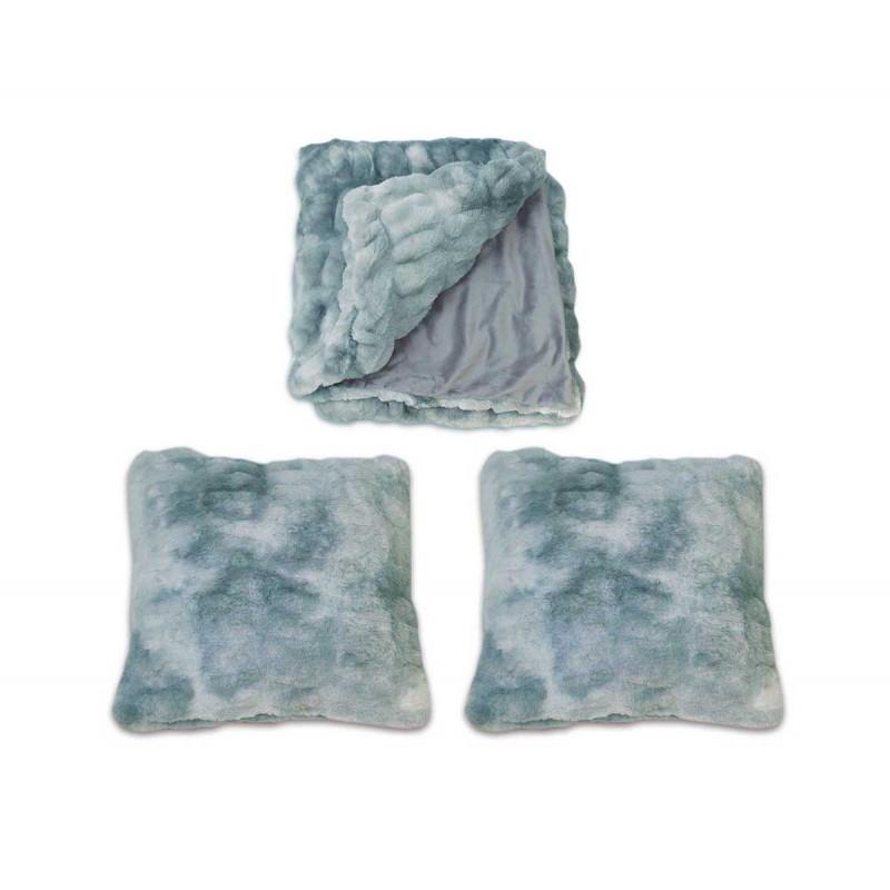 Lot plaid + 2 coussins nuances de bleu, gris, vert, au toucher ultra doux, ultra moelleux, ultra douillet - Calinou