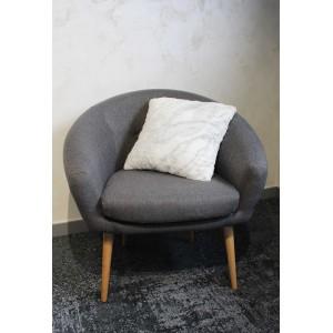 Coussin blanc motif marbré gris bleuté - Polar