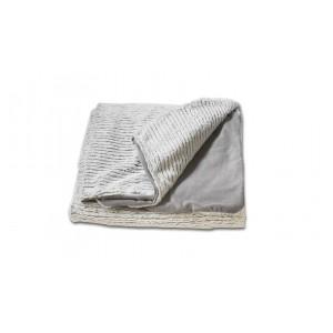 Plaid blanc texturé aspect tricot -ultra douceur polaire souple - LENO