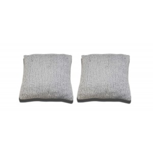 lot de 2 Coussins blancs texturés aspect tricot - LENO