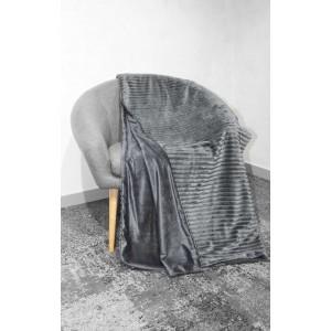 Plaid gris texturé velours - douceur velours polaire - Boreal