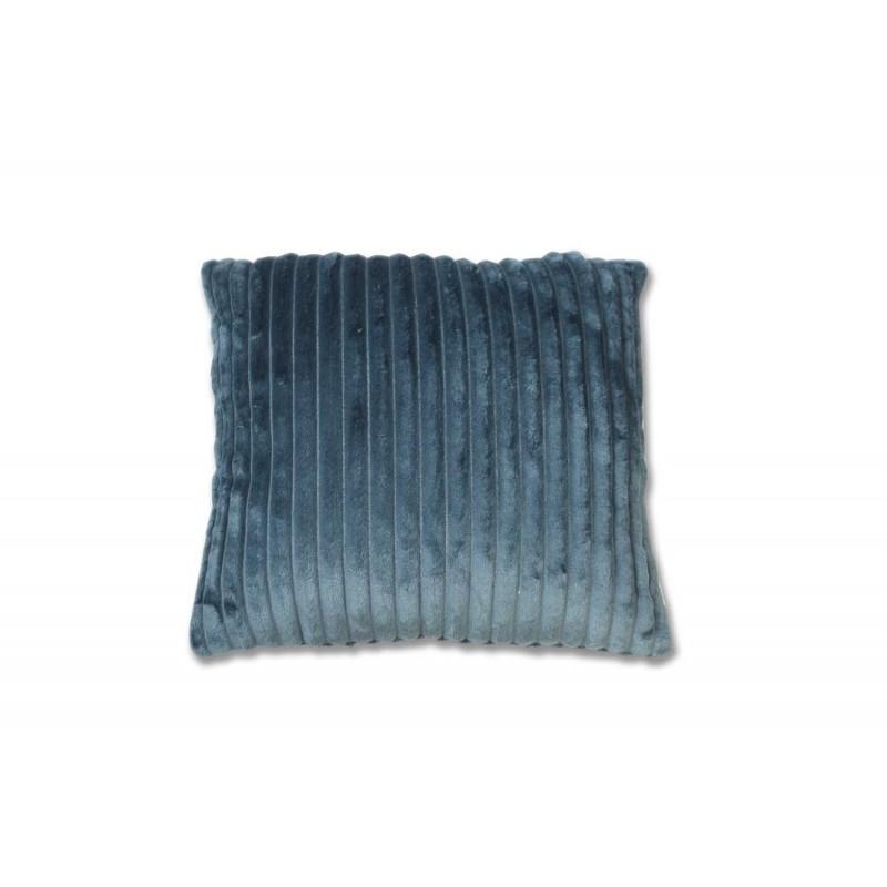 Coussin bleu texturé velours - douceur velours polaire - Boreal