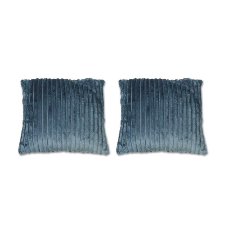 lot de 2 coussins bleus texturés velours - Boreal
