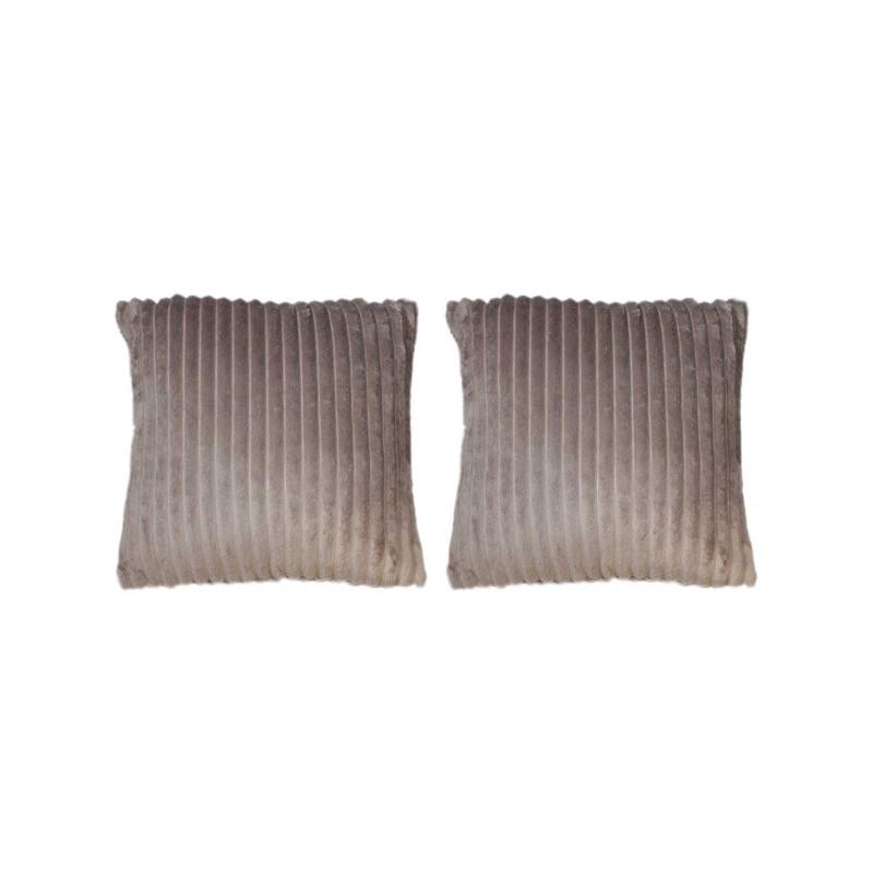 lot de 2 coussins taupes / marrons glacé texturés velours - Boreal