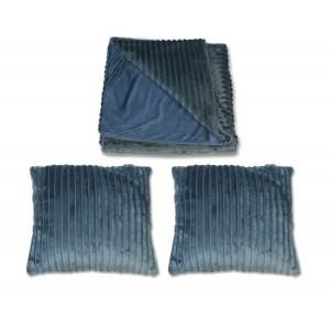 Plaid + lot de 2 coussins bleus texturés velours - Boreal