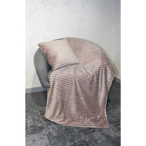 Plaid + lot de 2 coussins taupes marron glacé texturés velours - Boreal