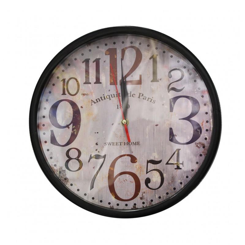 Horloge ronde 35 cm noire et marron avec cadran à aiguilles visuel retro - décoration vintage - BISTRO