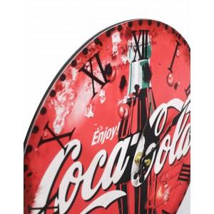 Horloge ronde 30 cm avec cadran rouge à aiguilles et visuel coca-cola - décoration murale vintage - COLA