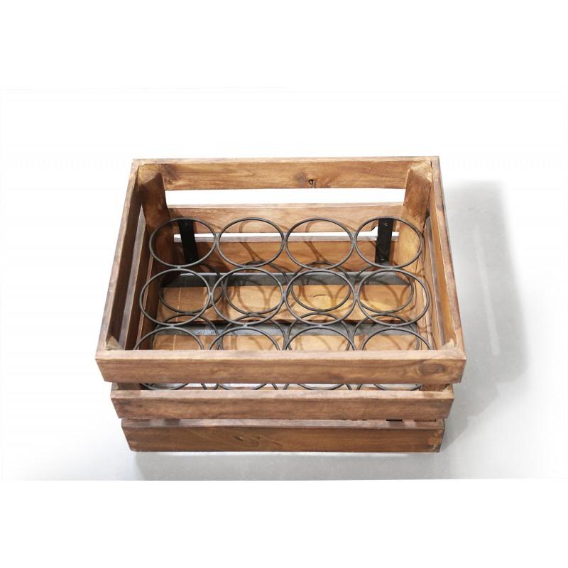 Casier rustique pour 12 bouteilles, en bois et métal - décoration cuisine, bar, restaurant, cave à vins - BACCHUS