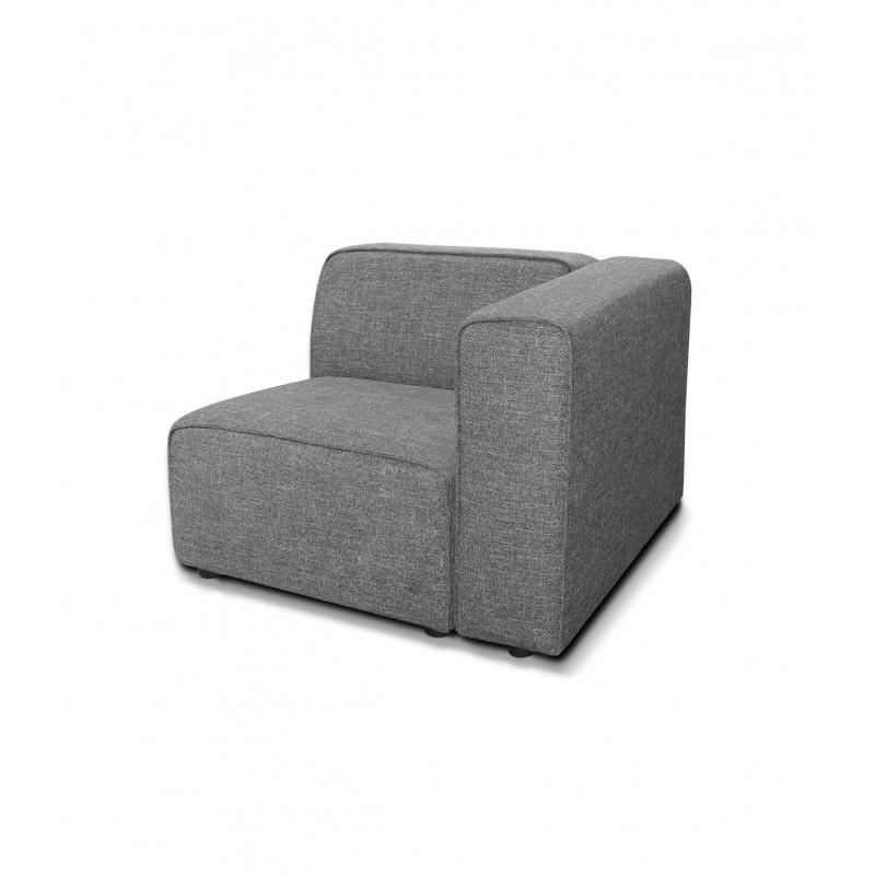 Chauffeuse avec accoudoir module pour canapé composable modulable gris - design contemporain tendance - Milan