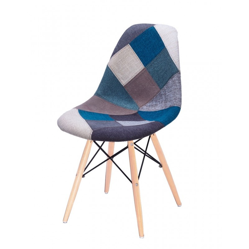 Chaise Patchwork Bleu tissu & bois de hêtre - RETRO