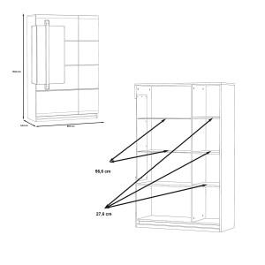meuble vitrine 2 portes blanc laqué et décor chêne gris avec éclairage LED - design contemporain - Collection ALEXIANE