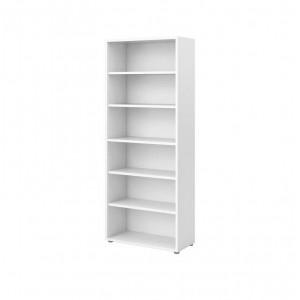 Bibliothèque 5 tablettes 6 niches décor blanc - rangement étagère moderne - Reverso
