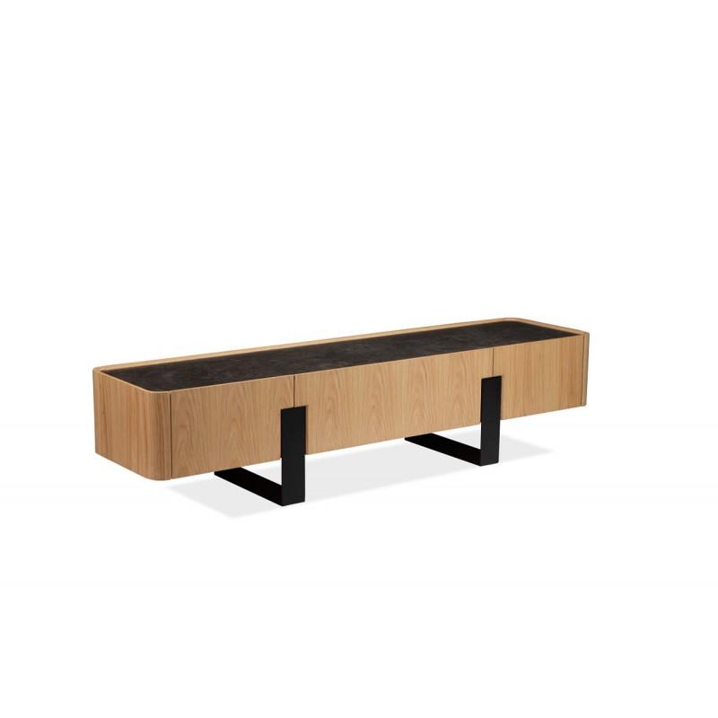 meuble tv plateau ceramique aspect chene clair pieds metal verona
