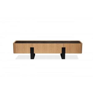 Meuble TV 3 tiroirs plateau céramique aspect chêne clair piétement métal - VERONA