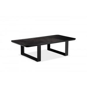 Table basse rectangulaire plateau céramique gris anthracite et MDF piétement métal noir - VERONA